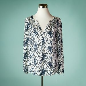 Boden 8 Dolly Blue White Print Top